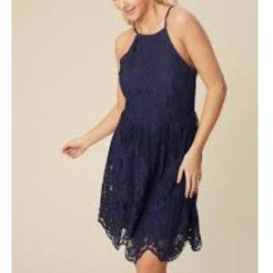 Altar'd State Fit and Flare Navy Lace Dress